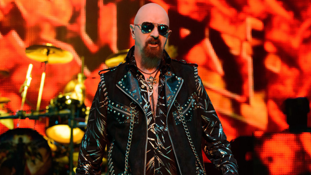 HAMMOND, IN - OCTOBER 03: Rob Halford of Judas Priest performs on stage at The Venue at Horseshoe Hammond on October 3, 2014 in Hammond, United States. (Photo by Daniel Boczarski/Redferns via Getty Images)